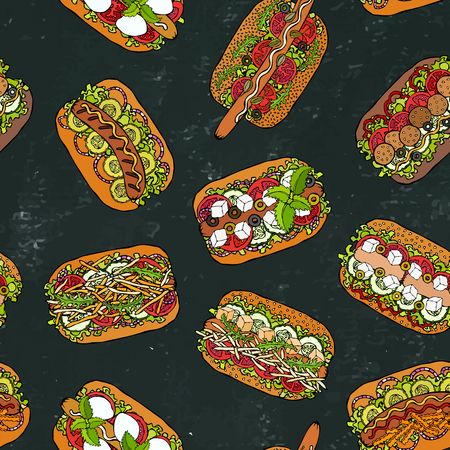 Hot Dog Seamless Endless Pattern. Many Ingredients. Restaurant or Cafe Menu Background. Fast Food Collection. Realistic Hand Drawn High Quality Vector Illustration. Doodle Style. Black Chalkboard Foto de archivo - 114902100