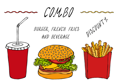 Burger, French Fries in a Box and Paper Cup of Cola Combo Discount. Advertisement Street Fast Food Menu. Hand Drawn High Quality Clean Vector Realistic Illustration. Doodle Style Foto de archivo - 114880884
