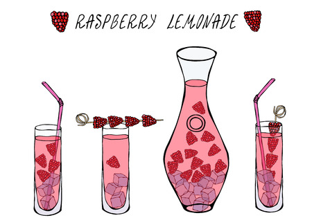 Lemonade with Raspberry in Decanter and Tall Glass, Ice, Straw, Berries on a Skewer. Summer Bar Coctail Collection. Realistic Hand Drawn High Quality Vector Illustration. Doodle Style