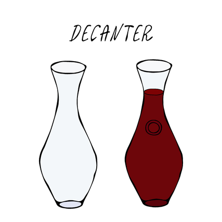 Alcohol Beverage Red Wine in a Decanter. Bar Collection. Realistic Hand Drawn High Quality Vector Illustration. Doodle Style