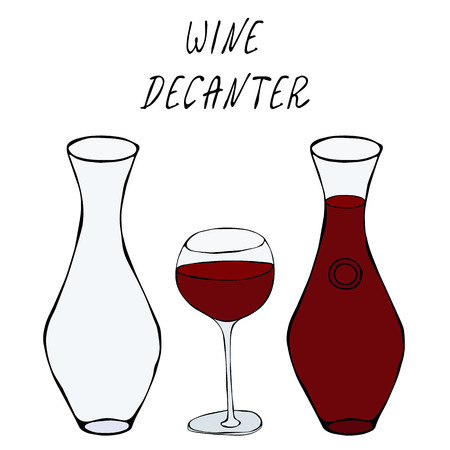 Alcohol Beverage Red Wine in a Decanter and Wine Glass. Bar Collection. Realistic Hand Drawn High Quality Vector Illustration. Doodle Style