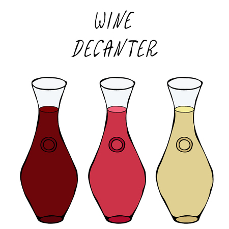 Alcohol Beverage Red, Rose, White Wine in a Decanter. Bar Collection. Realistic Hand Drawn High Quality Vector Illustration. Doodle Style Vectores