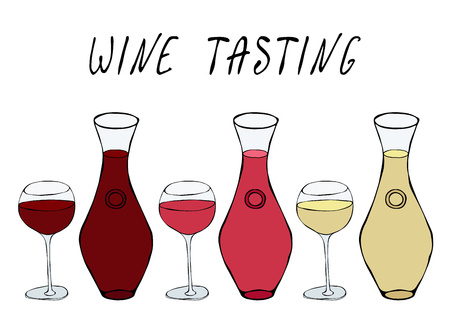 Alcohol Beverage Red, Rose, White Wine in a Decanter and Wine Glasses. Bar Collection. Realistic Hand Drawn High Quality Vector Illustration. Doodle Style Vectores