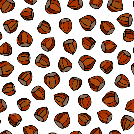 Hazelnut Seamless Endless Pattern. Whole Unpeeled Hazelnut. Autumn or Fall Harvest Collection. Realistic Hand Drawn High Quality Vector Illustration. Doodle Style Vectores