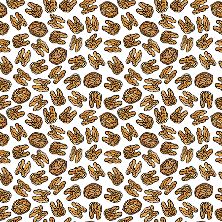 Walnut Seamless Endless Pattern. Whole Peeled Walnuts. Autumn or Fall Harvest Collection. Realistic Hand Drawn High Quality Vector Illustration. Doodle Style