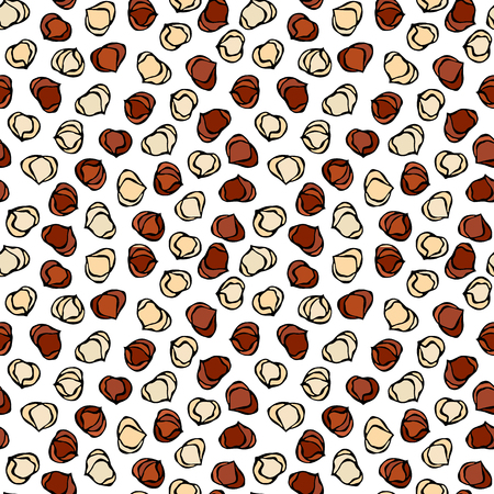 Hazelnut Seamless Endless Pattern. Whole Peeled Hazelnut. Autumn or Fall Harvest Collection. Realistic Hand Drawn High Quality Vector Illustration. Doodle Style