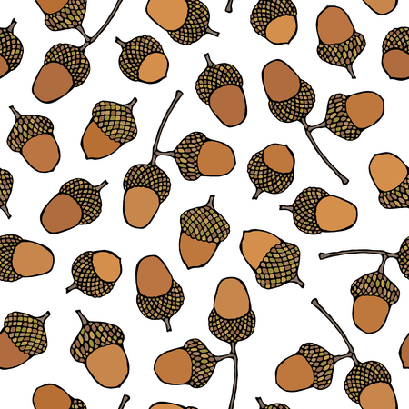 Seamless Endless Pattern of Brown Acorns. Autumn or Fall Vegetable Harvest Collection. Realistic Hand Drawn High Quality Vector Illustration. Doodle Style Stock Photo