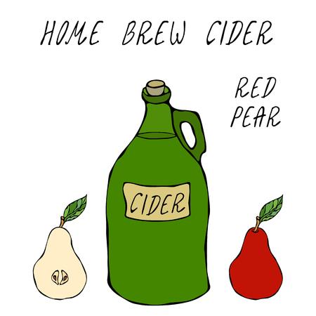Botella Vintage de vidrio de sidra de pera roja. Fruta de manzana roja. Elaboración casera. Colección de cosecha de hortalizas de otoño o otoño. Ilustración vectorial de alta calidad dibujada a mano realista. Estilo Doodle Ilustración de vector