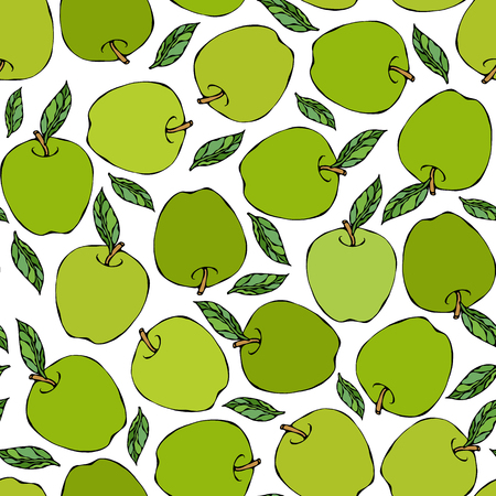 Green Apple Seamless Endless Pattern. Red Apple Fruit. Home Brew. Autumn or Fall Vegetable Harvest Collection. Realistic Hand Drawn High Quality Vector Illustration. Doodle Style