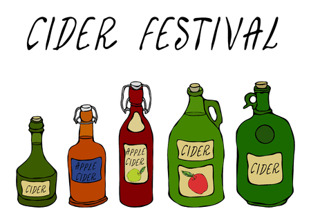 Cider Festival. Apple or Pear Cider in Different Glass Vintage Bottles. Home Brew. Autumn or Fall Vegetable Harvest Collection. Realistic Hand Drawn High Quality Vector Illustration. Doodle Style