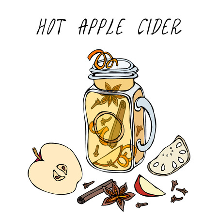 Hot Apple Cider in Mason Jar. Or Mulled White Wine. Warming Drink. Bar Menu. Autumn Harvest Collection. Realistic Hand Drawn High Quality Vector Illustration. Doodle Style