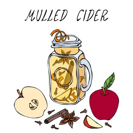 Hot Cider in Mason Jar. Or Mulled White Wine. Warming Drink. Bar Menu. Autumn Harvest Collection. Realistic Hand Drawn High Quality Vector Illustration. Doodle Style Foto de archivo - 112319974