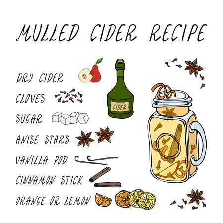 Mulled Cider Recipe. Hot Cider in Mason Jar. Or Mulled White Wine. Warming Drink. Bar Menu. Autumn Harvest Collection. Realistic Hand Drawn High Quality Vector Illustration. Doodle Style