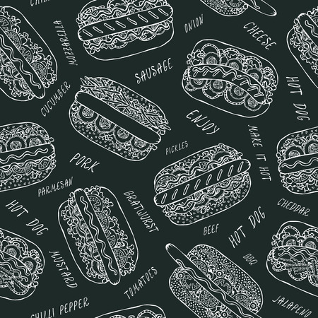 Black Board. Hot Dog and Lettering Seamless Endless Pattern. Many. Restaurant or Cafe Menu Background. Street Fast Food Collection. Realistic Hand Drawn High Quality Vector Illustration. Doodle Style