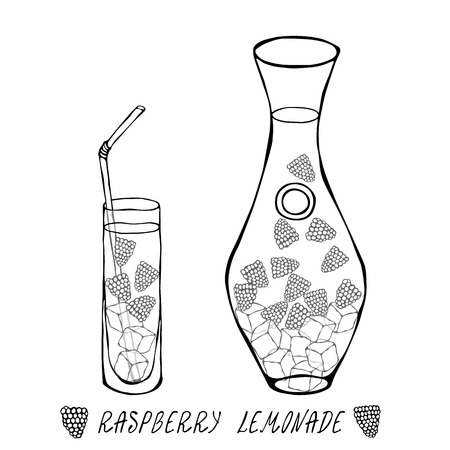 Lemonade with Raspberry in Decanter and Tall Glass, Ice, Straw. Summer Bar Coctail Collection. Realistic Hand Drawn High Quality Vector Illustration. Doodle Style