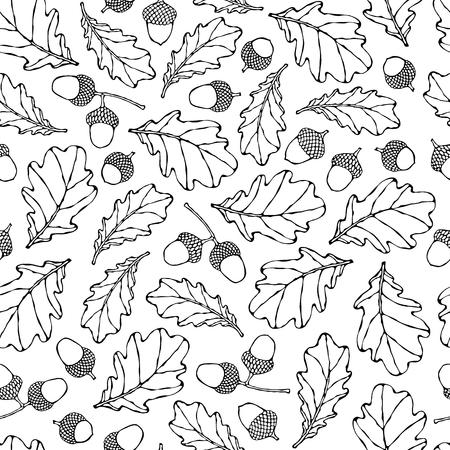 Sin fisuras patrón sin fin de hojas de roble y bellotas. Rojo, naranja y amarillo. Colección Otoño o Cosecha de Otoño. Ilustración vectorial de alta calidad dibujada a mano realista. Estilo Doodle