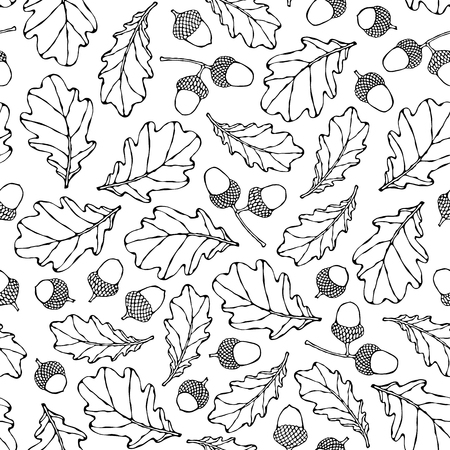 Seamless Endless Pattern of Oak Leaves and Acorns. Green and Yellow. Autumn or Fall Harvest Collection. Realistic Hand Drawn High Quality Vector Illustration. Doodle Style