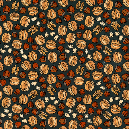 Black Board. Hazelnut and Walnut Seamless Endless Pattern. Whole and Peeled Hazelnut. Autumn or Fall Harvest Collection. Realistic Hand Drawn High Quality Vector Illustration. Doodle Style