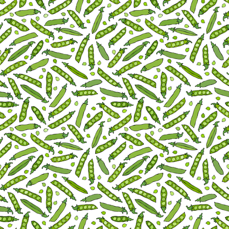 Seamless Endless Pattern of Green Peas and Peeled Pea Pod. Healthy Bio Vegetarian Food. Realistic Hand Drawn High Quality Vector Illustration. Doodle Style.