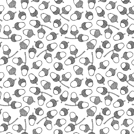 Seamless Endless Pattern of Green Brown Acorns. Autumn or Fall Vegetable Harvest Collection. Realistic Hand Drawn High Quality Vector Illustration. Doodle Style.