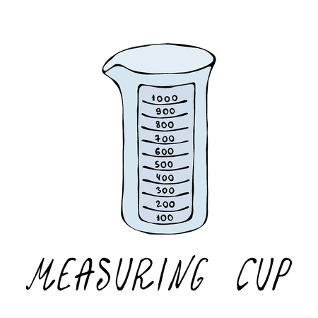 Empty Measuring Cup. Kitchen Tools Collection. Hand Drawn Doodle Style Realistic Illustration.