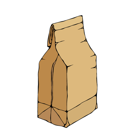 Brown Paper Bag. Package Collection. EPS10 Vector. Hand Drawn Doodle Style Realistic Illustration 일러스트