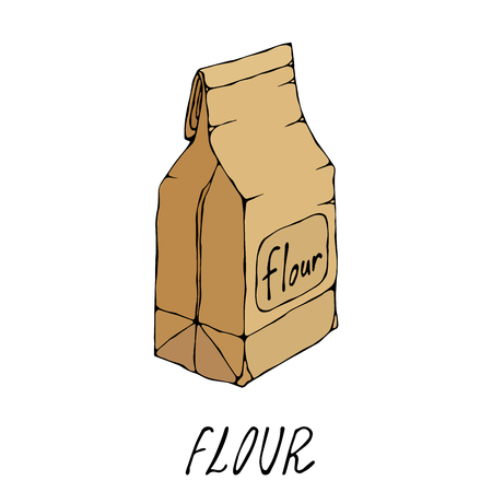 Brown Paper Bag Packet of Flour. Food Collection. EPS10 Vector. Hand Drawn Doodle Style Realistic Illustration