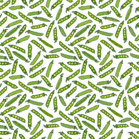Seamless Endless Pattern of Green Peas and Peeled Pea Pod. Healthy Bio Vegetarian Food. Realistic Hand Drawn High Quality Vector Illustration. Doodle Style Vectores