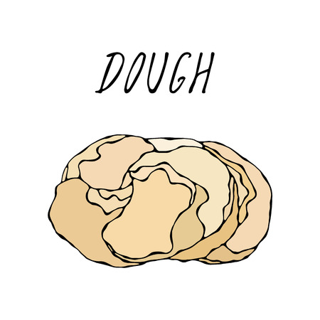 Dough. Pastry Kitchen Collection. EPS10 Vector. Hand Drawn Doodle Style Realistic Illustration