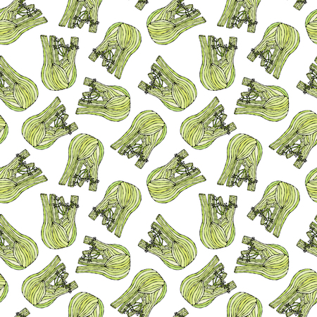 Seamless Endless Pattern of Green Fennel Balb. Vegetable Collection. EPS10 Vector. Hand Drawn Doodle Style Realistic Illustration Foto de archivo - 127696325