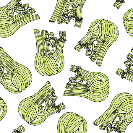 Seamless Endless Pattern of Green Fennel Balb. Vegetable Collection. EPS10 Vector. Hand Drawn Doodle Style Realistic Illustration Foto de archivo - 127696326