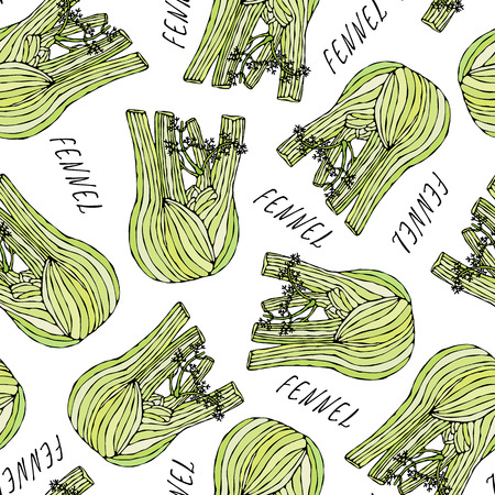 Seamless Endless Pattern of Green Fennel Balb. Vegetable Collection. EPS10 Vector. Hand Drawn Doodle Style Realistic Illustration