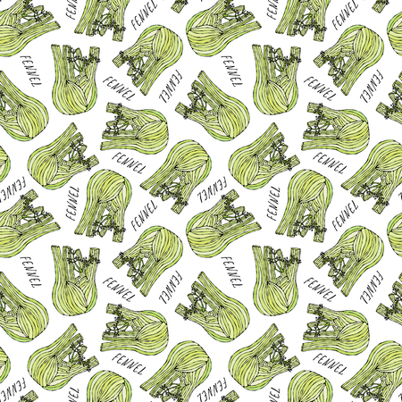 Seamless Endless Pattern of Green Fennel Balb. Vegetable Collection.  Hand Drawn Doodle Style Realistic Illustration.