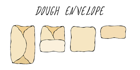 Dough Envelop. Pastry Kitchen Collection.  Hand Drawn Doodle Style Realistic Illustration. Stock Photo