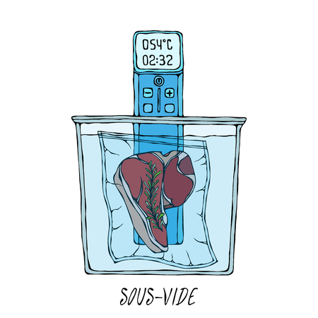 What is Sous-Vide. Slow Cooking Technology. Perfect Tender Juicy Meat Steak. Vacuumizer Food Sealer. Chief Cuisine Collection. EPS10 Vector. Hand Drawn Doodle Style Realistic Illustration Stock Illustratie