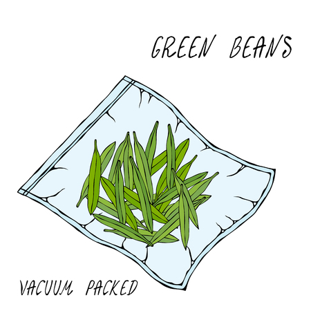 Vacuumizer Food Sealer. Green Beans. For Vegetarians. What is Sous-Vide. Slow Cooking Technology. Chief Cuisine Collection. EPS10 Vector. Hand Drawn Doodle Style Realistic Illustration Foto de archivo - 126959099