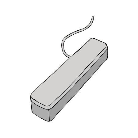 Grey Plastic Box With Wire. Hand Drawn Doodle Style Realistic Illustration. Vectores