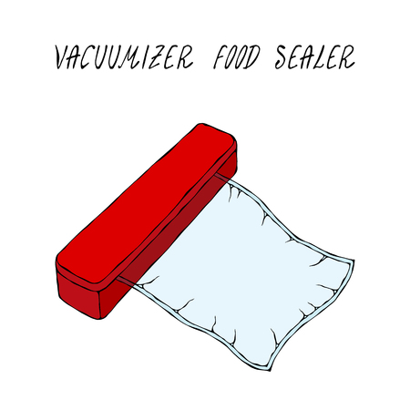 Vacuumizer Food Sealer with Vacuum Bag. What is Sous-Vide. Slow Cooking Technology. Perfect Food. Chief Cuisine Collection. Foto de archivo - 114847273