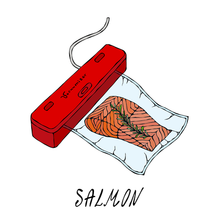 Vacuumizer Food Sealer. What is Sous-Vide. Slow Cooking Technology. Vacuum Packed Salmon Steak.. Chief Cuisine Collection. Foto de archivo - 114847276