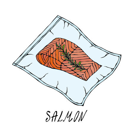 Vacuumizer Food Sealer. What is Sous-Vide. Slow Cooking Technology. Vacuum Packed Salmon Steak.