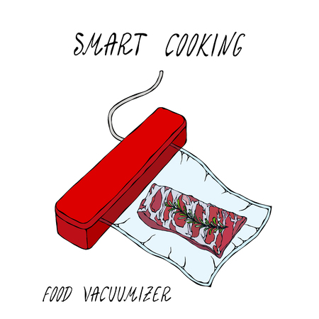 Vacuumizer Food Sealer. What is Sous-Vide. Slow Cooking Technology. Vacuum Packed Pork Ribs.