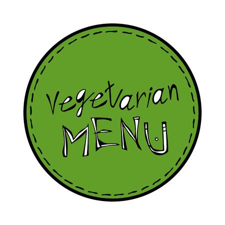 Vegan diet label emblem packaging, circle stamp. Food sticker, round vegetarian diet icon clip art, green label graphic design. Foto de archivo - 114847397