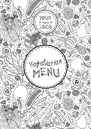 Restaurant Cafe Vegan Menu Cover Template of Vegetarian Healthy Food. EPS10 Vector. Hand Drawn Doodle Style Realistic Illustration Foto de archivo - 126910578