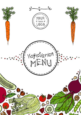 Restaurant Cafe Vegan Menu Cover Template of Vegetarian Healthy Food. EPS10 Vector. Hand Drawn Doodle Style Realistic Illustration