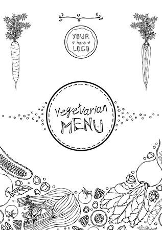 Restaurant Cafe Vegan Menu Cover Template of Vegetarian Healthy Food. EPS10 Vector. Hand Drawn Doodle Style Realistic Illustration Foto de archivo - 126910581
