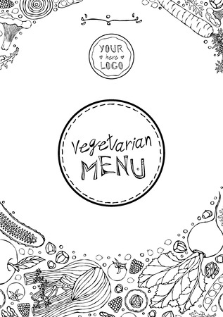 Restaurant Cafe Vegan Menu Cover Template of Vegetarian Healthy Food. EPS10 Vector. Hand Drawn Doodle Style Realistic Illustration Foto de archivo - 126910582