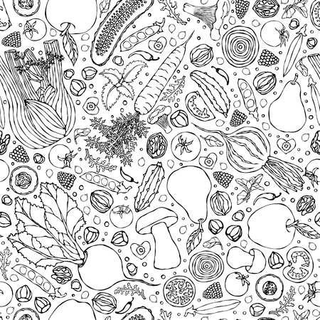 Assorted Vegetables Seamless Endless Pattern. Vegan Background. Template of Vegetarian Healthy Food. EPS10 Vector. Hand Drawn Doodle Style Realistic Illustratio