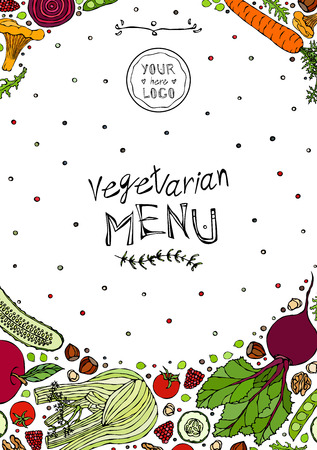 Restaurant Cafe Vegan Menu Cover Template of Vegetarian Healthy Food. EPS10 Vector. Hand Drawn Doodle Style Realistic Illustration Foto de archivo - 126910585
