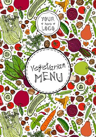 Restaurant Cafe Vegan Menu Cover Template of Vegetarian Healthy Food. Foto de archivo - 114847401