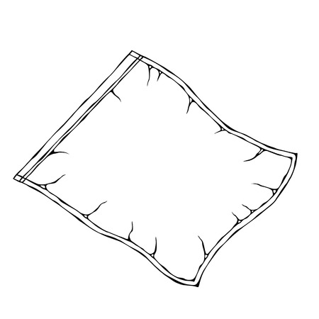 Vacuum Plastic Bag. EPS10 Vector. Hand Drawn Doodle Style Realistic Illustration